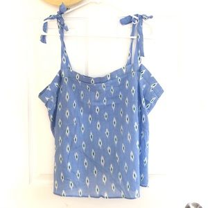 J. Crew ShoulderTie Tank In Cornflower Blue Cotton